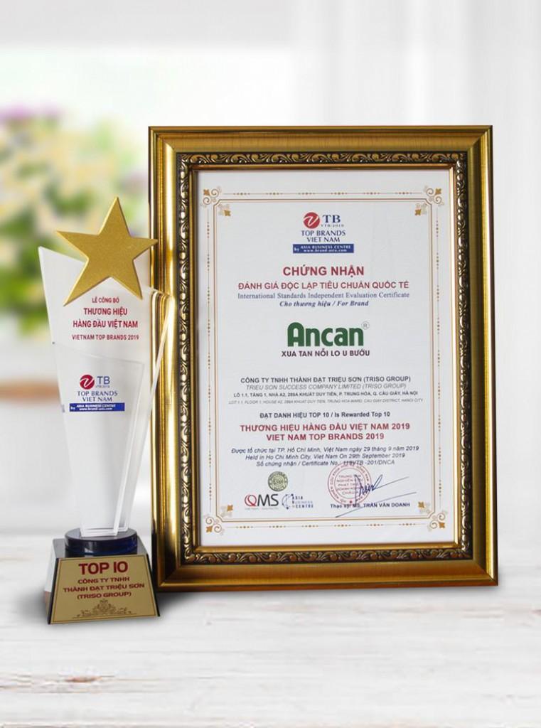 Các giải thưởng mà Ancan vinh dự nhận được trong các năm