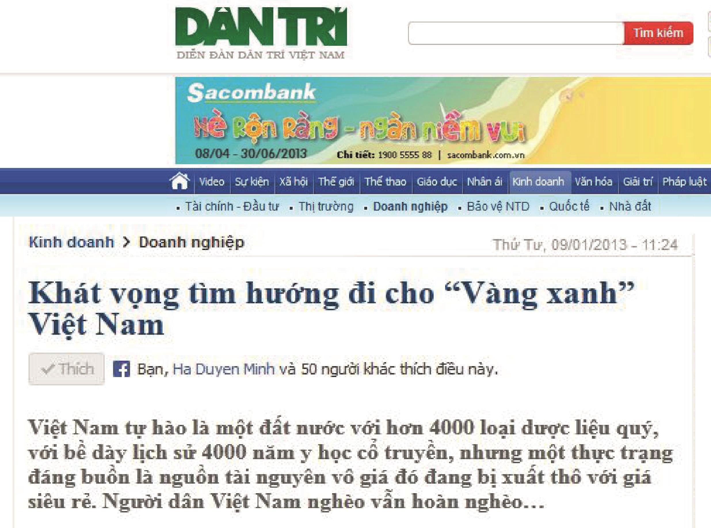 """Báo Dân Trí: """"Khát vọng tìm hướng đi cho """"Vàng xanh"""" Việt Nam"""""""