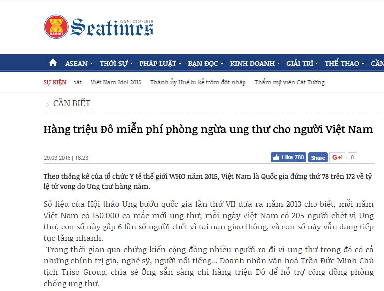 """Báo SEATIMES: """"Hàng triệu Đô miễn phí phòng ngừa ung thư cho người Việt Nam"""""""