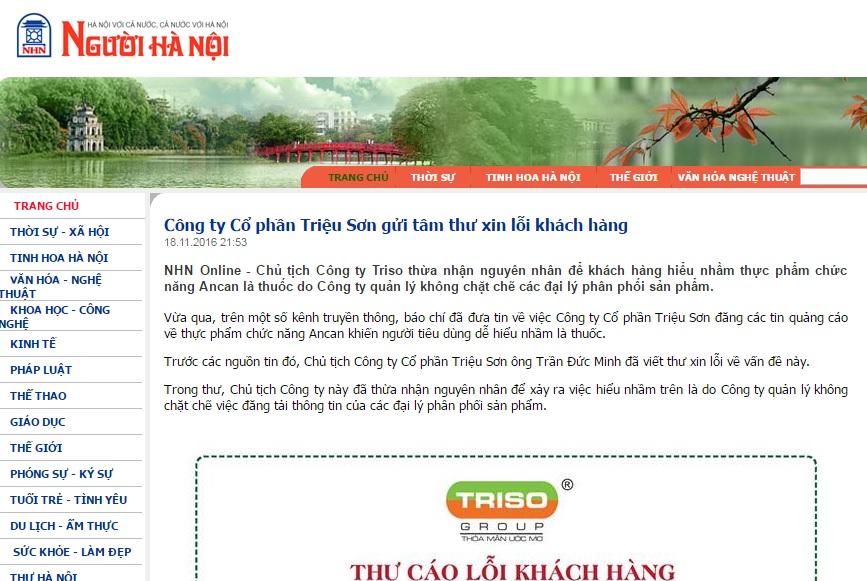 """Báo Người Hà Nội: """"Công ty Cổ phần Triệu Sơn gửi tâm thư xin lỗi khách hàng"""""""